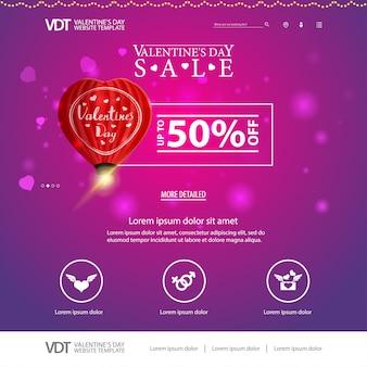 Modèle de site web rose avec la conception de la saint-valentin