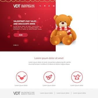 Modèle de site web rouge avec la conception de la saint-valentin