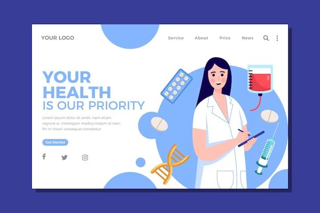 Modèle de site web de soins de santé de conception plate