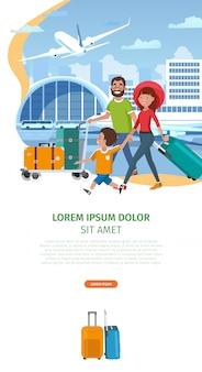 Modèle de site web vecteur compagnie aérienne cartoon