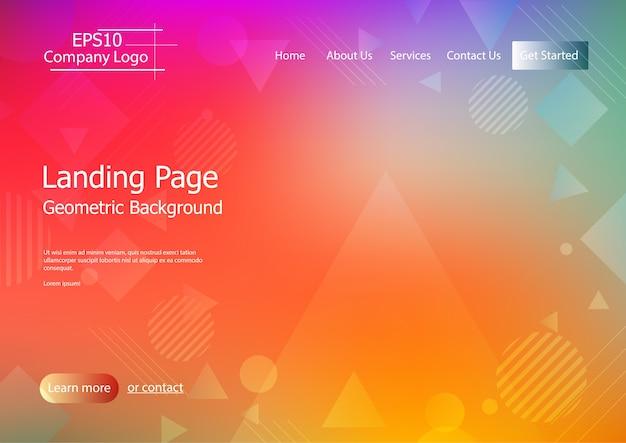 Modèle de site web avec vecteur de fond géométrique coloré eps10 4
