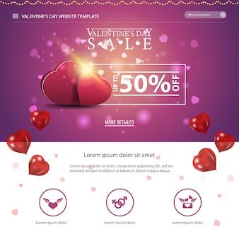 Modèle de site web violet avec un design saint valentin