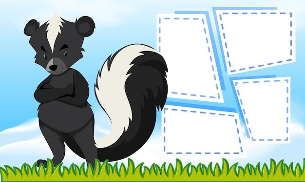 Un modèle de skunk sur une note