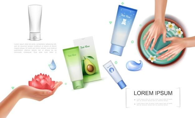 Modèle de soin de la peau réaliste avec des tubes cosmétiques et des paquets de crème mains féminines dans un bol d'eau et avec une fleur de lotus