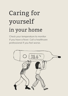 Modèle de soins pour vous-même dans votre affiche de soins de santé à domicile