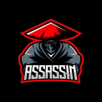 Modèle de sport de mascotte de jeu avec logo assassin ninja