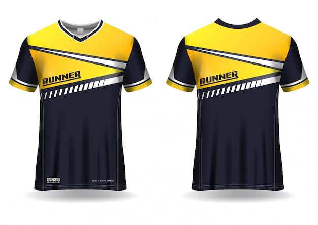 Modèle de sport de t-shirt pour le maillot de course, uniforme de sport en vue avant et arrière