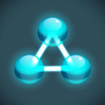 Modèle de structure de molécule lumineuse avec des atomes de turquoise connectés ronds