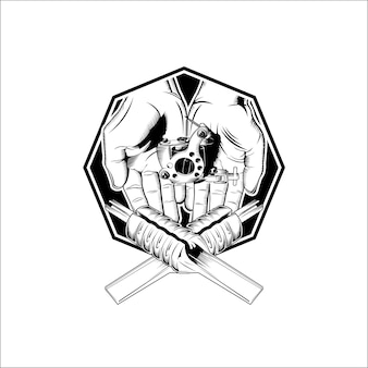 Modèle de studio de tatouage logo noir et blanc