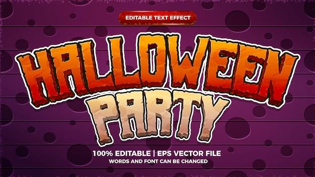 Modèle de style 3d comique de bande dessinée d'effet de texte modifiable de fête d'halloween heureux