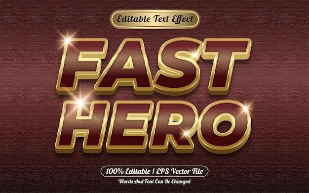 Modèle de style d'effet de texte modifiable 3d de héros rapide doré