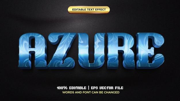 Modèle de style d'effet de texte modifiable 3d de luxe en marbre brillant azure