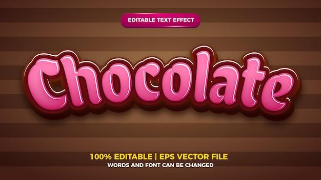 Modèle de style d'effet de texte modifiable de dessin animé au chocolat rose