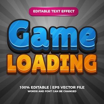 Modèle de style d'effet de texte modifiable de dessin animé de chargement de jeu
