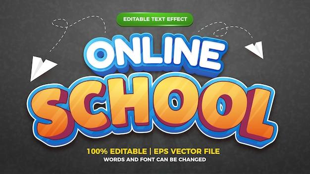 Modèle de style d'effet de texte modifiable de jeu de bande dessinée d'enfants d'école en ligne