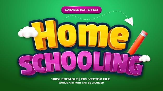 Modèle de style d'effet de texte modifiable de jeu comique de dessin animé d'enfants d'enseignement à domicile