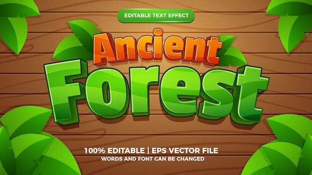 Modèle de style d'effet de texte modifiable de jeu comique de dessin animé de forêt ancienne