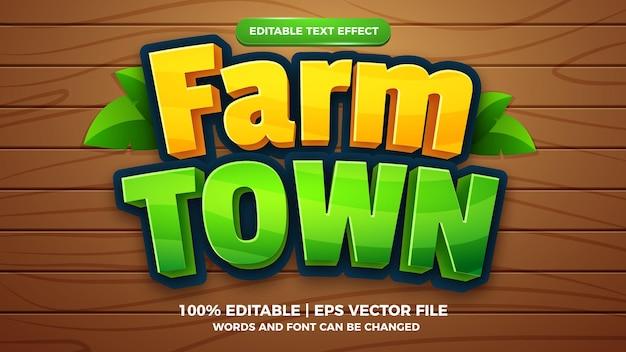 Modèle de style d'effet de texte modifiable de jeu comique de dessin animé de ville de ferme
