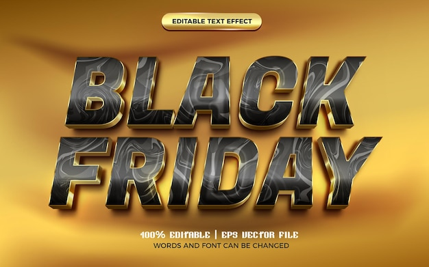 Modèle de style d'effet de texte modifiable de luxe en marbre doré vendredi noir 3d