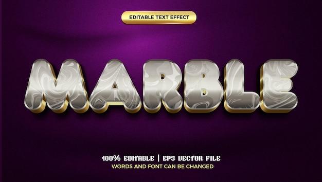 Modèle de style d'effet de texte modifiable en marbre doré de luxe 3d