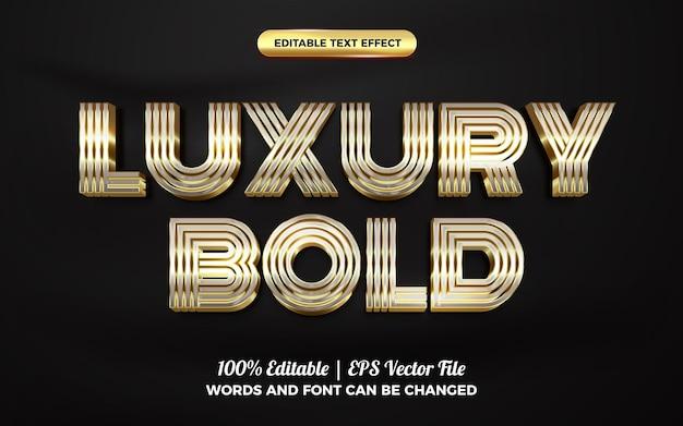 Modèle de style d'effet de texte modifiable en or argent audacieux de luxe 3d
