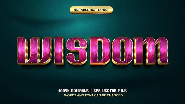 Modèle de style d'effet de texte modifiable en or violet de luxe de sagesse 3d