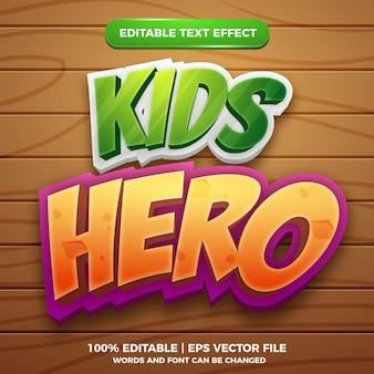 Modèle de style d'effet de texte modifiable pour bande dessinée kids hero