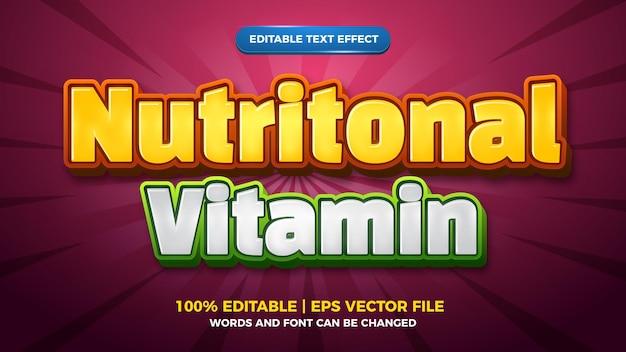Modèle de style d'effet de texte modifiable pour enfants de bande dessinée de vitamines nutritionnelles