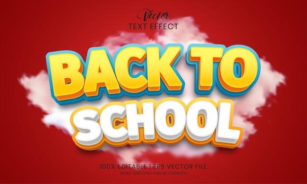 Modèle de style d'effet de texte modifiable de retour à l'école