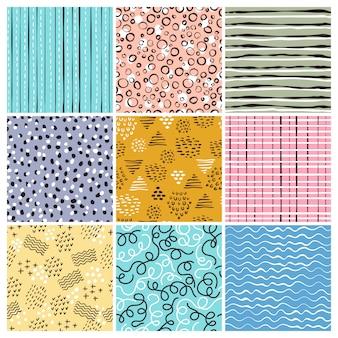 Modèle de style enfantin. lignes simples formes abstraites griffonnages rayures projets de conception textile sans couture