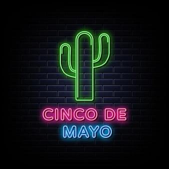 Modèle de style néon design cinco de mayo