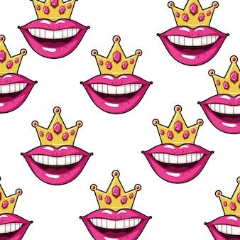 Modèle de style pop art de bouche féminine