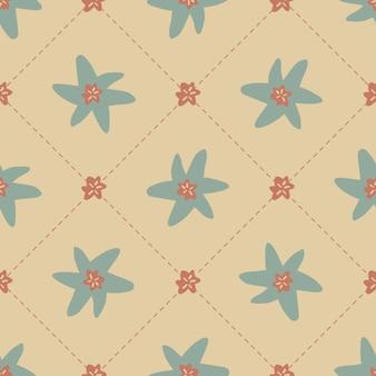 Modèle de style scandinave sans couture avec fleur de tirage main mignon