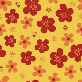Modèle de style scandinave sans couture avec main dessiner jolie fleur