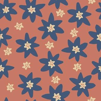 Modèle de style scandinave sans couture avec main de doodle dessiner fleur bleue