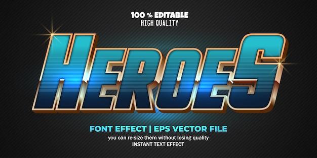 Modèle de style de texte d'effet de texte modifiable heroes