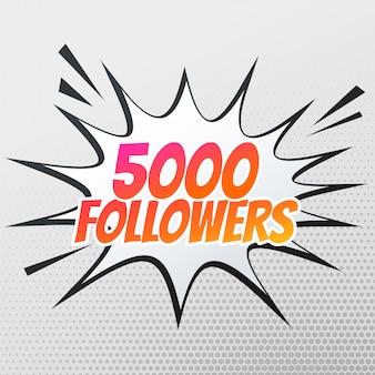 Modèle de succès 5000 suiveurs en style bande dessinée