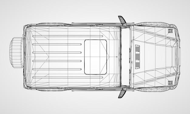 Modèle de suv à cadre haut de gamme au design classique. illustration vectorielle sur fond gris.