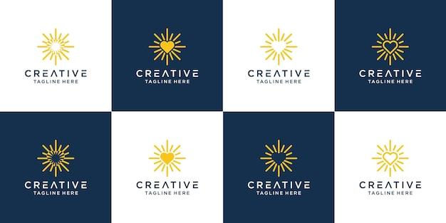 Modèle de symbole d'icône de conception de logo d'amour lumineux.