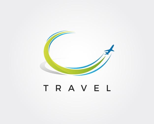 Modèle de symbole d'icône de logo de voyage d'avion