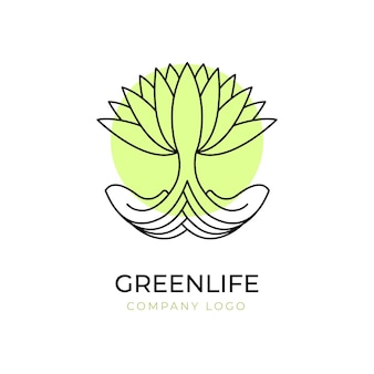 Modèle de symbole de logo arbre vie verte