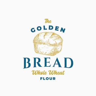 Modèle de symbole ou de logo de signe abstrait de brique de pain doré