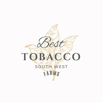 Modèle de symbole ou de logo de signe abstrait de feuille de tabac