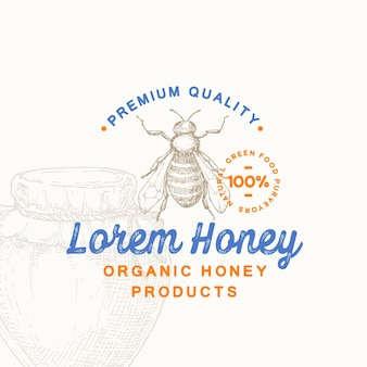 Modèle de symbole ou de logo de signe de produit de miel biologique de qualité supérieure