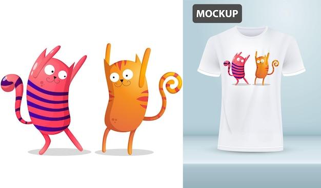 Modèle de t-shirt crazy dancing stripped cats