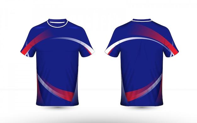 Modèle de t-shirt e-sport avec une mise en page bleue, rouge et blanche