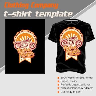 Modèle de t-shirt, entièrement modifiable avec le vecteur de cavalier vintage
