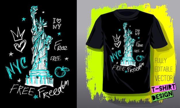 Modèle de t-shirt à la mode, conception de t-shirt de mode, lumineux, été, lettrage de slogan cool. crayon de couleur, marqueur, encre, style de croquis de griffonnages de stylo. illustration dessinée à la main.