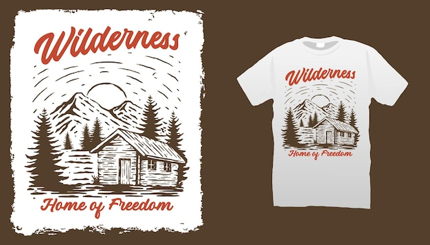 Modèle de t-shirt mountain cabin