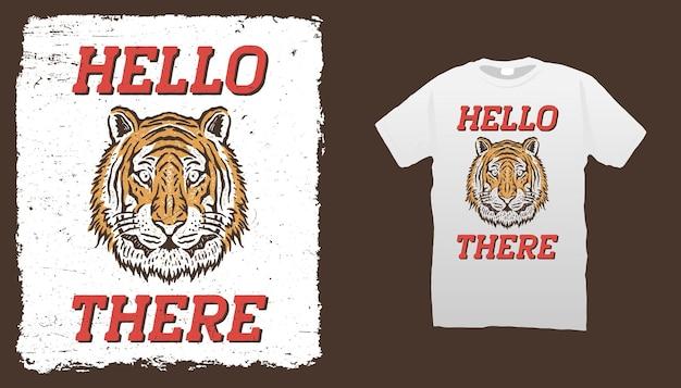 Modèle De T-shirt Tête De Tigre Vecteur Premium